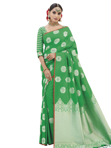 Green Color Banarasi Silk Saree - SLS-1854