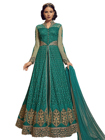 Green Color Net Semi Stitched  Salwar Suit - SLS-1931