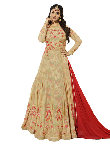 Beige Color Georgette Semi Stitched Salwar - SLS-1935