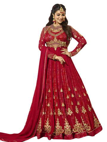 Red Color Georgette Semi Stitched Salwar - SLS-1936
