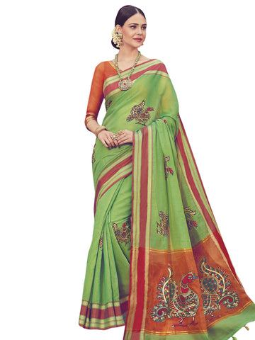 Green Color ArtSilk Saree - SLS-1948