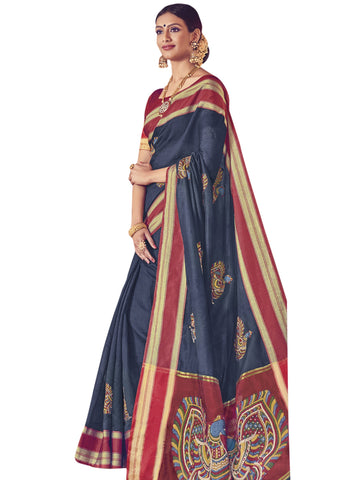 NavyBlue Color ArtSilk Saree - SLS-1949
