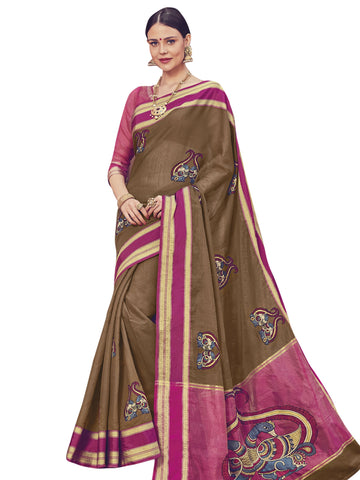 Brown Color ArtSilk Saree - SLS-1951