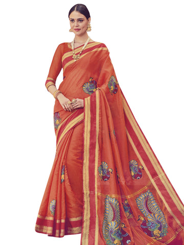 Orange Color ArtSilk Saree - SLS-1954