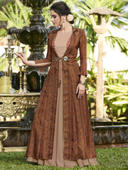 Buy Beige Color Linen Satin Semi Stitched Gown