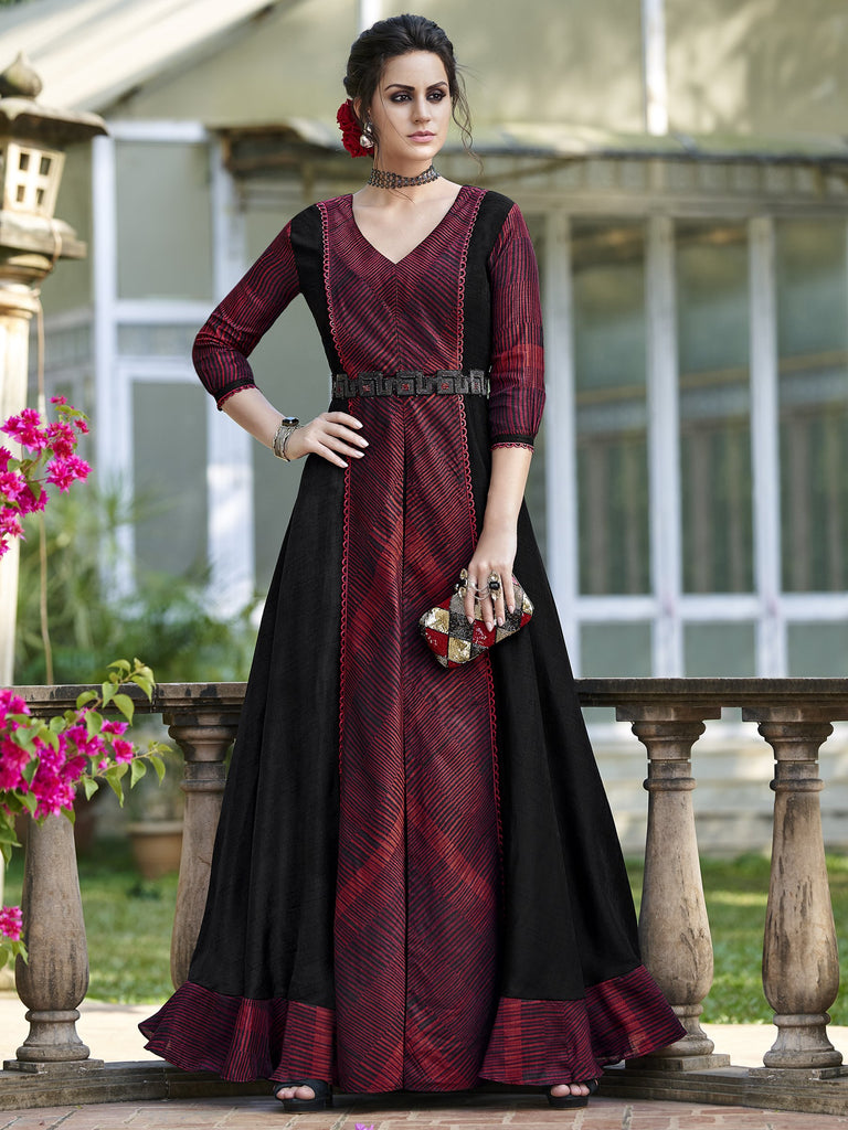 Buy Maroon Color Tussar Silk Semi Stitched Gown