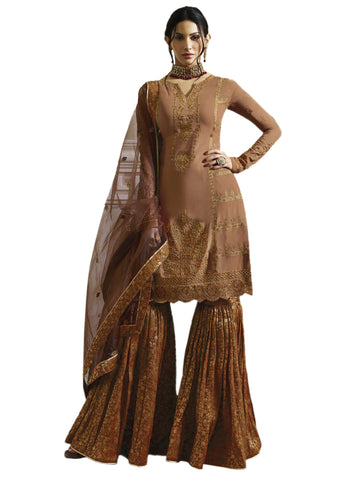 Rust Color Satin Semi Stitched Salwar - SLS-1982