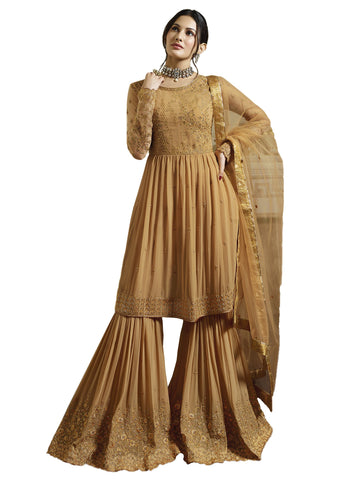 Yellow Color Georgette Semi Stitched Salwar - SLS-1984