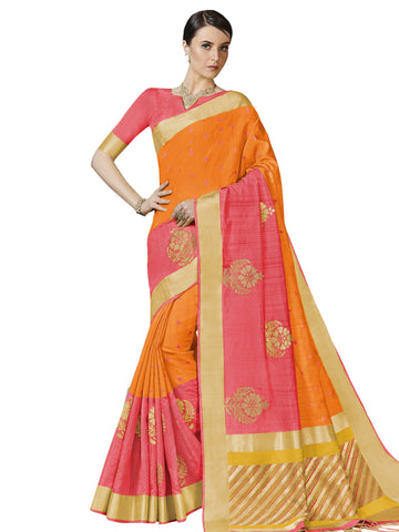 Orange Color Bhagalpuri Silk Saree - SLS-2020