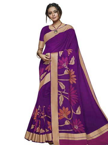 Violet Color Banarasi Silk Saree - SLS-2028