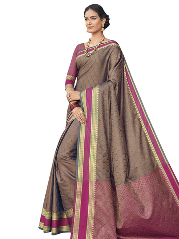 Brown Color Banarasi Silk Saree - SLS-2051