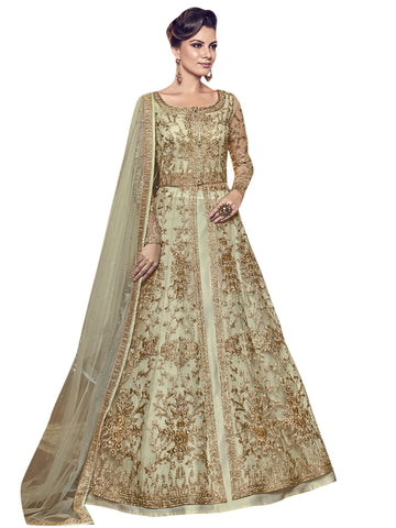 Green Color Net Semi Stitched Salwar - SLS-2063