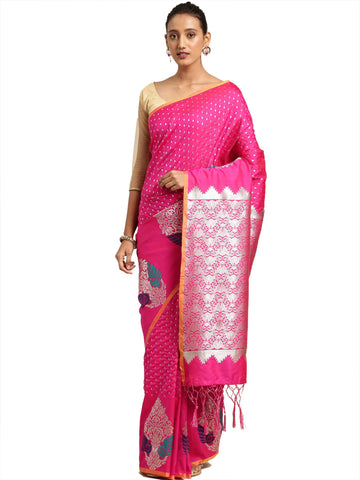 Magenta Color Banarasi Silk Saree - SLS-2070