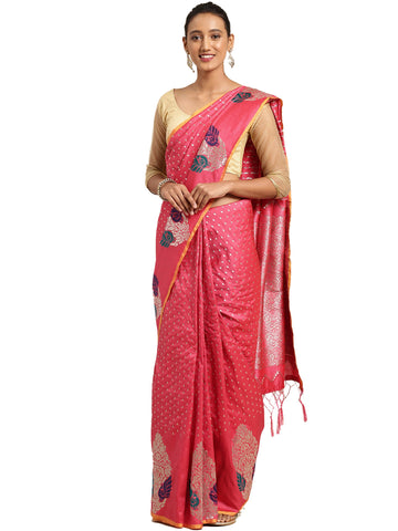 Peach Color Banarasi Silk Saree - SLS-2072