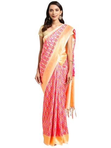 Cream Color Banarasi Silk Saree - SLS-2075