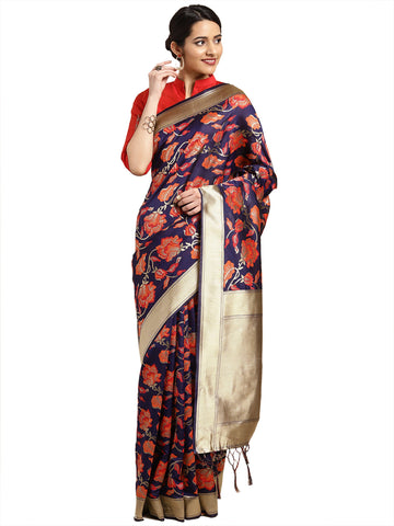 NavyBlue Color Banarasi Silk Saree - SLS-2081