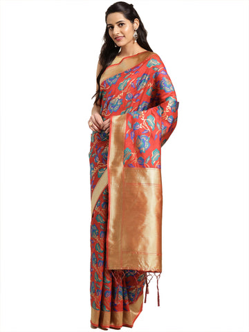 Red Color Banarasi Silk Saree - SLS-2082