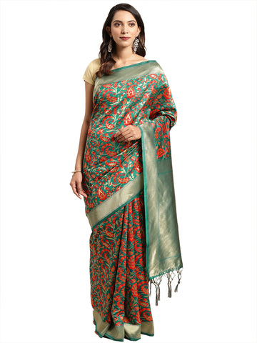 Green Color Banarasi Silk Saree - SLS-2085