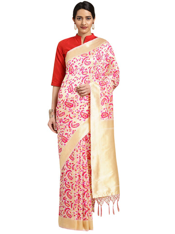 Cream Color Banarasi Silk Saree - SLS-2087