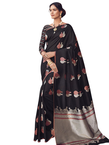 Black Color Banarasi Silk Saree -  SLS-2109