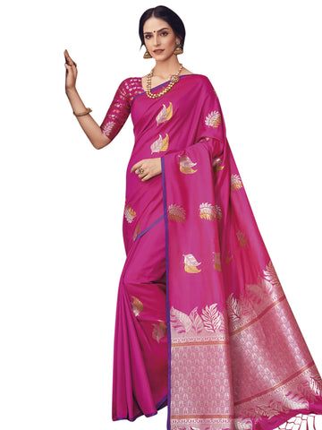 Magenta Color Banarasi Silk Saree -  SLS-2116