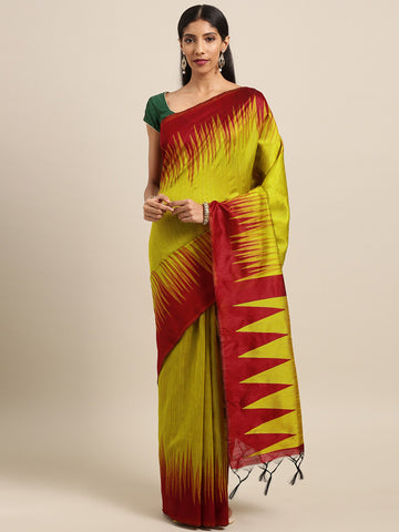 Yellow Color Ikkat Silk Saree -SLS-2132