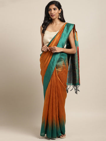 Orange Color Ikkat Silk Saree -SLS-2134