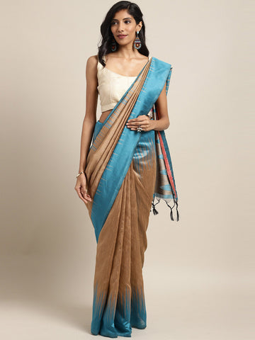 Beige Color Ikkat Silk Saree -SLS-2136
