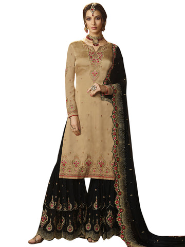 Beige color Satin Semi Stitched Salwar-SLS-2169