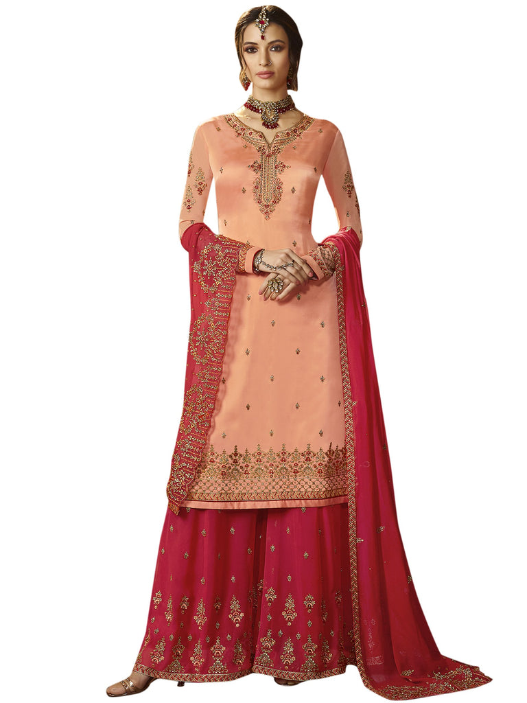 Buy Peach color Satin Semi Stitched Salwar