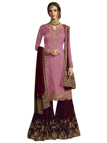 Pink color Satin Semi Stitched Salwar-SLS-2174