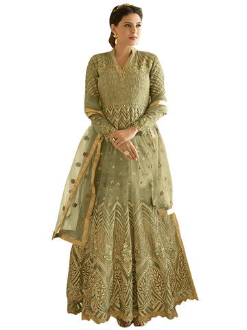 Green color Net Semi Stitched Salwar-SLS-2177