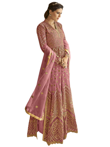 Pink color Net Semi Stitched Salwar-SLS-2178