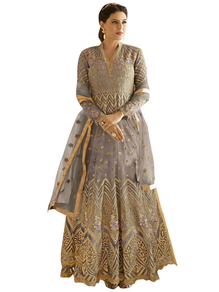 Buy Grey color Net Semi Stitched Salwar