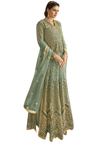 Teal color Net Semi Stitched Salwar-SLS-2180