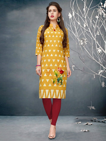 Yellow Color Crepe Stitched Kurti - SLS-5004