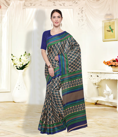 Beige and NavyBlue Color  ArtSilk Saree - SM102A