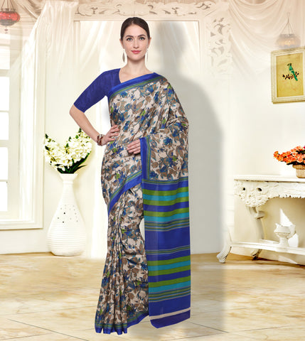 Beige and Blue Color  PolyCrepe Saree - SM105C