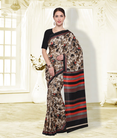 Beige and Black Color  PolyCrepe Saree - SM105D