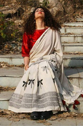 White Color Cotton Saree  - SM4