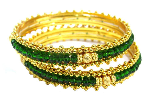 Green Color  Alloy and Glass Beads Bangles - SMCB76