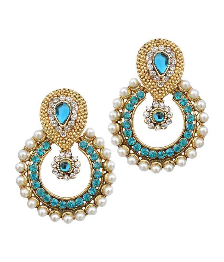 Golden and Sea Blue Color Earring