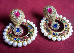 Golden and  Multi Color Earring