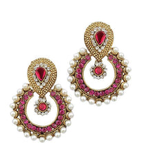 Golden and Dark pink Color Earring