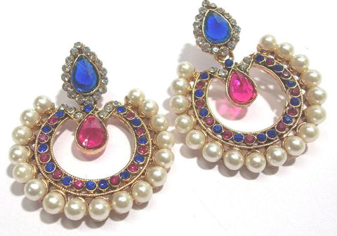 Pink and Blue Color Alloy Ear Rings - SMCE44