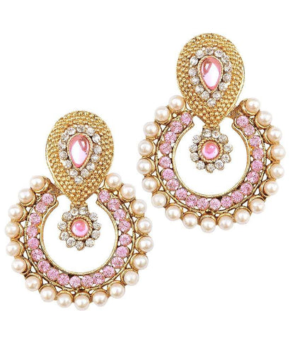 Golden and Light Pink Color Earring - SMCE82