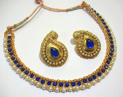 Golden and Dark Blue Color Necklace Set - SMCN052