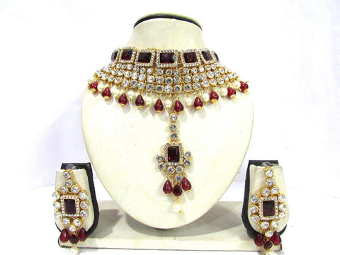 Maroon and White Color Stone Drop Necklace Set - SMCN1155