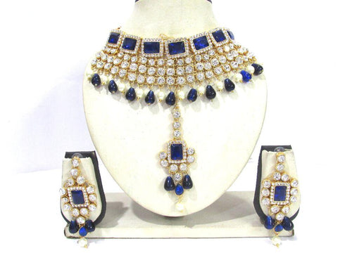 Dark Blue and White Color Stone Drop Necklace Set - SMCN1156