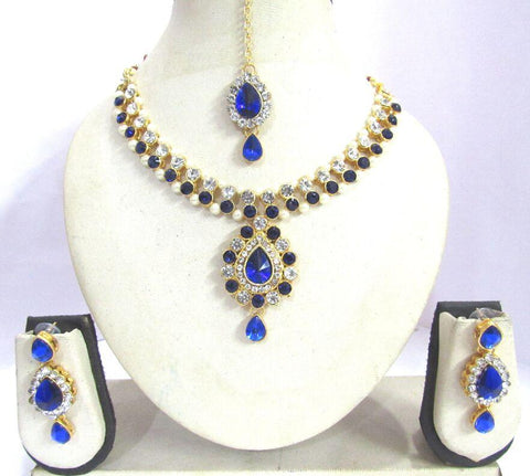 Dark Blue Color Stone Pendant Yeshwani Necklace Set - SMCN1158